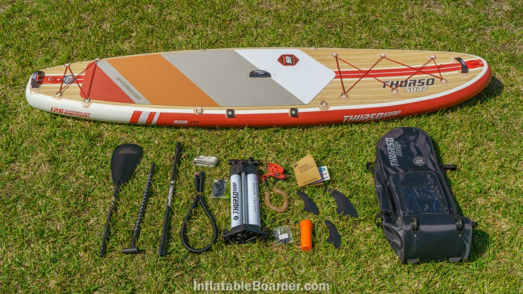 Waterwalker 126 accessories include carbon-hybrid paddle, premium pump, SUP leash, 3 fins, a repair kit, bag, and compression strap.