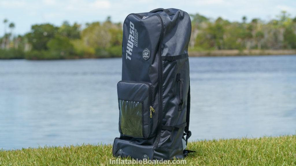 Thurso Waterwalker 132 bag standing up by lake.