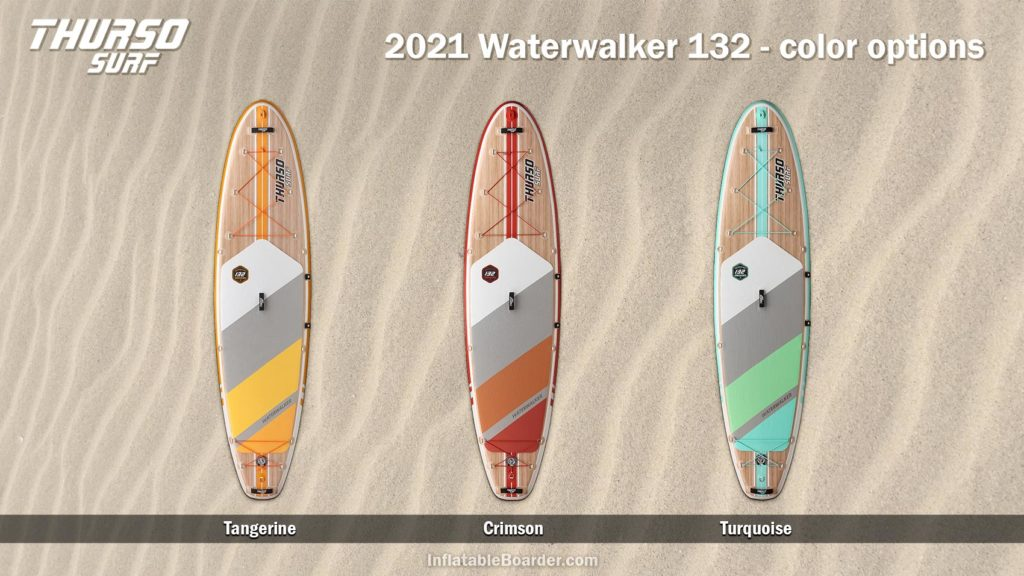 Waterwalker 132 paddle board color options, includes Tangerine, Crimson, and Turquoise.
