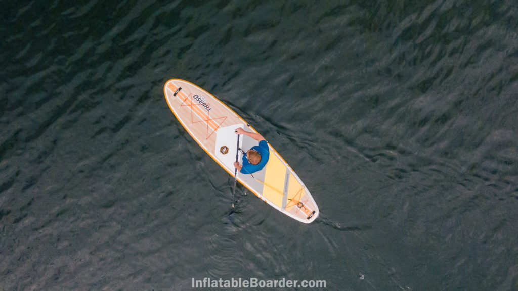 Paddling the 132 on the ocean from above.