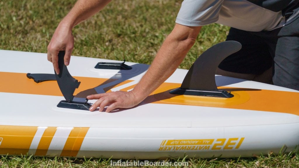 Inserting the quick-attach fins is fast and easy.