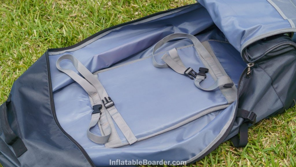 The inside of the bag is fully lined and has two straps to secure the SUP.