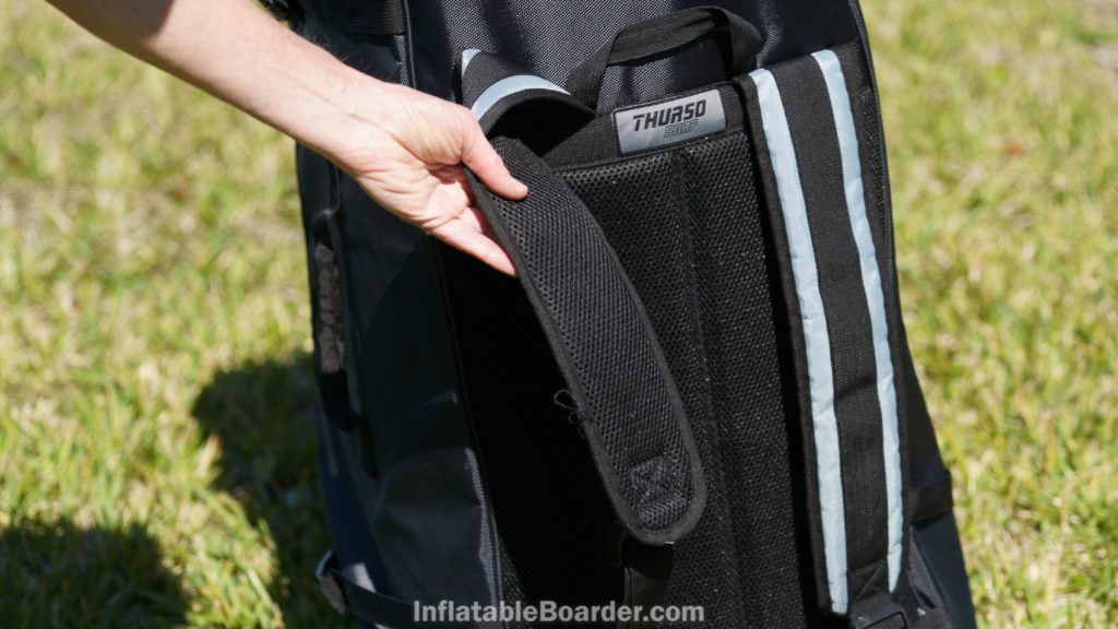 The straps and back of the bag have somewhat thin padding and are mesh to minimize sweat buildup.