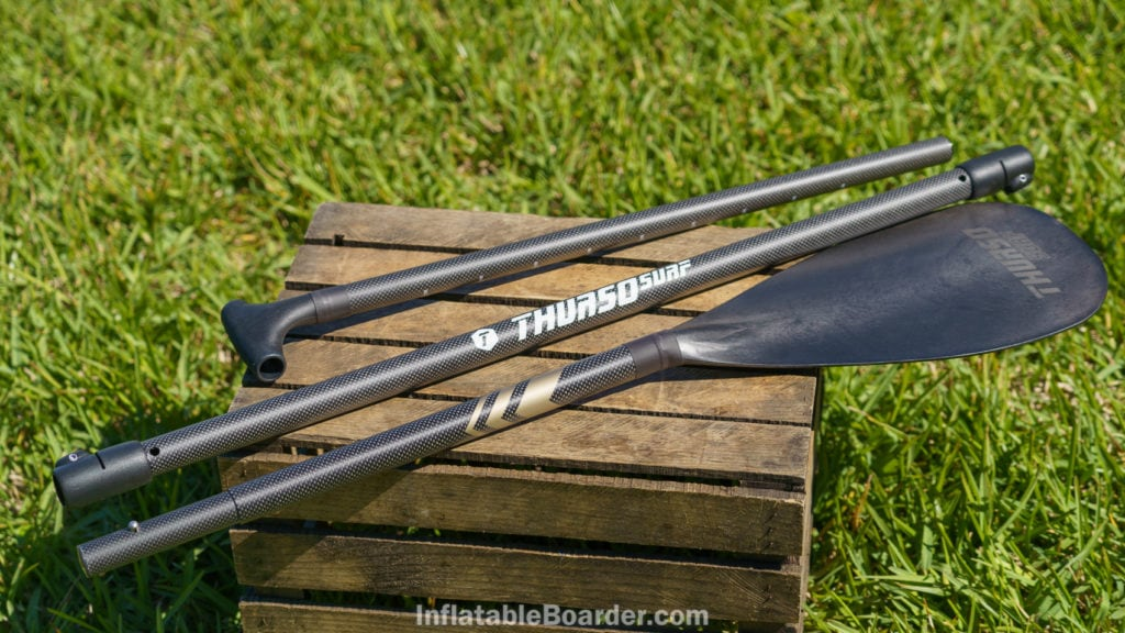 The 2021 Thurso Waterwalker paddle is a lightweight carbon-hybrid with bronze highlights.