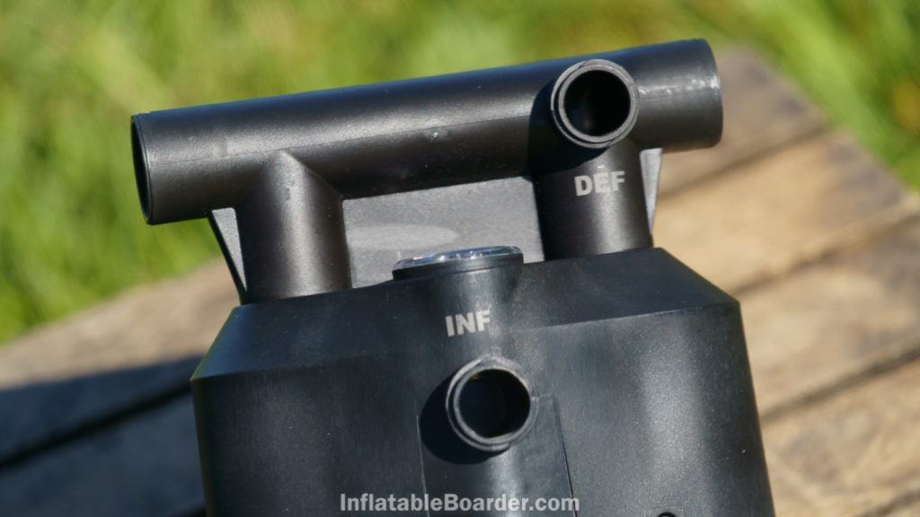 The pump has a convenient inflate port on the bottom of the pump while the deflate port is on the handle.