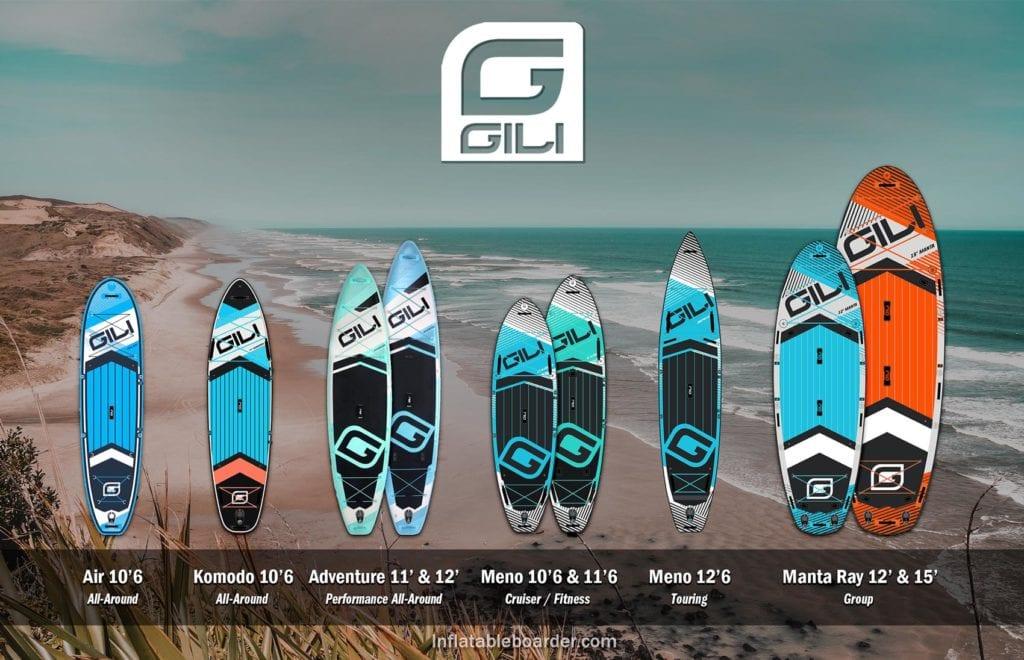 GILI Sports inflatable paddle boards compared. Includes Air, Komodo, Adventure 11' & 12', Meno 10'6 & 11'6, Meno 12'6 Touring, and Manta Ray 12 & 15'..