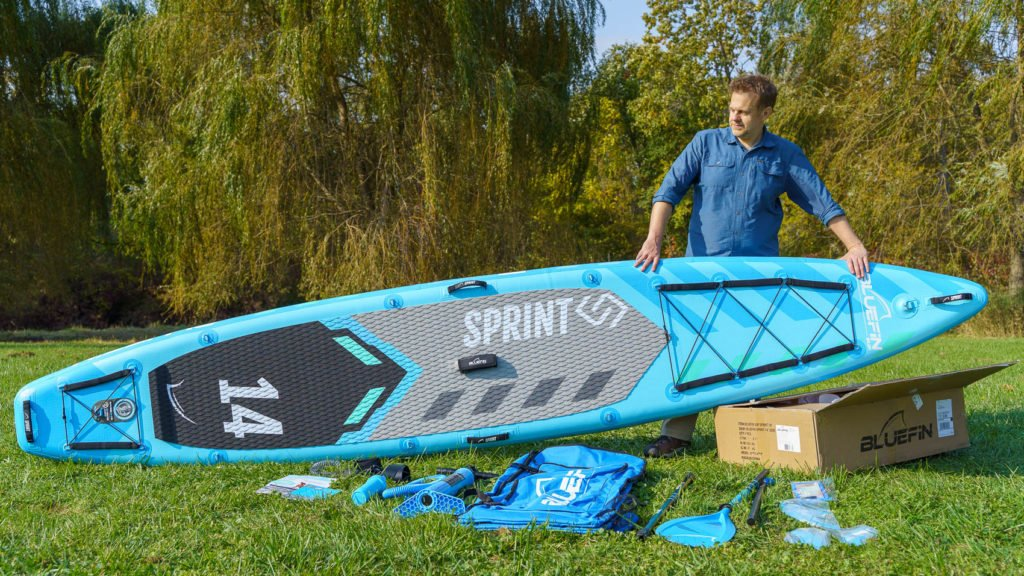 Unboxing the 2021 Bluefin Sprint paddle board,.