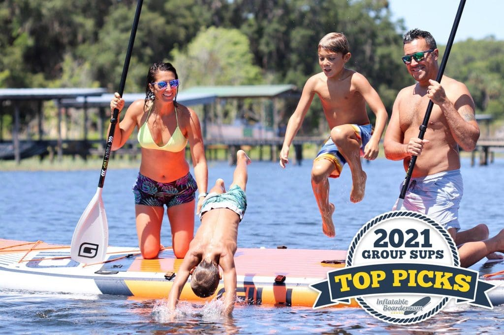 2021's Best Group SUPS - Top Picks. Include two people on a large GILI board on a lake.