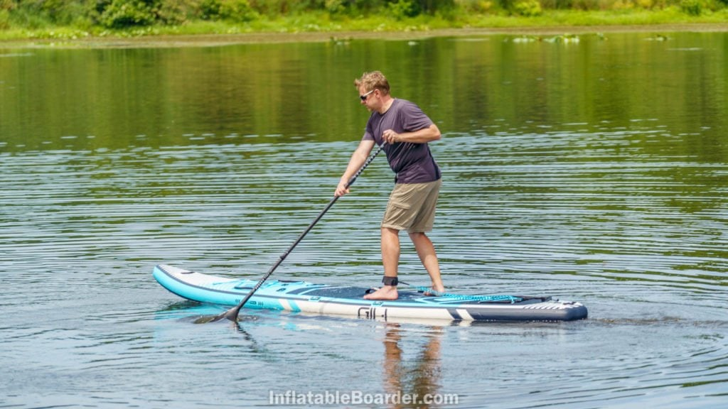 """Turning the 12'6"""" Meno on water."""