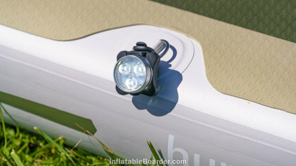 NIXY SUP navigation light mounted on paddle board side
