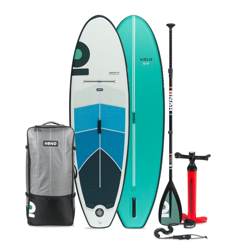 2021 HONU Airlie paddle board accessories package includes a single chamber pump, SUP bag, coiled leash, single fin, and repair kit.