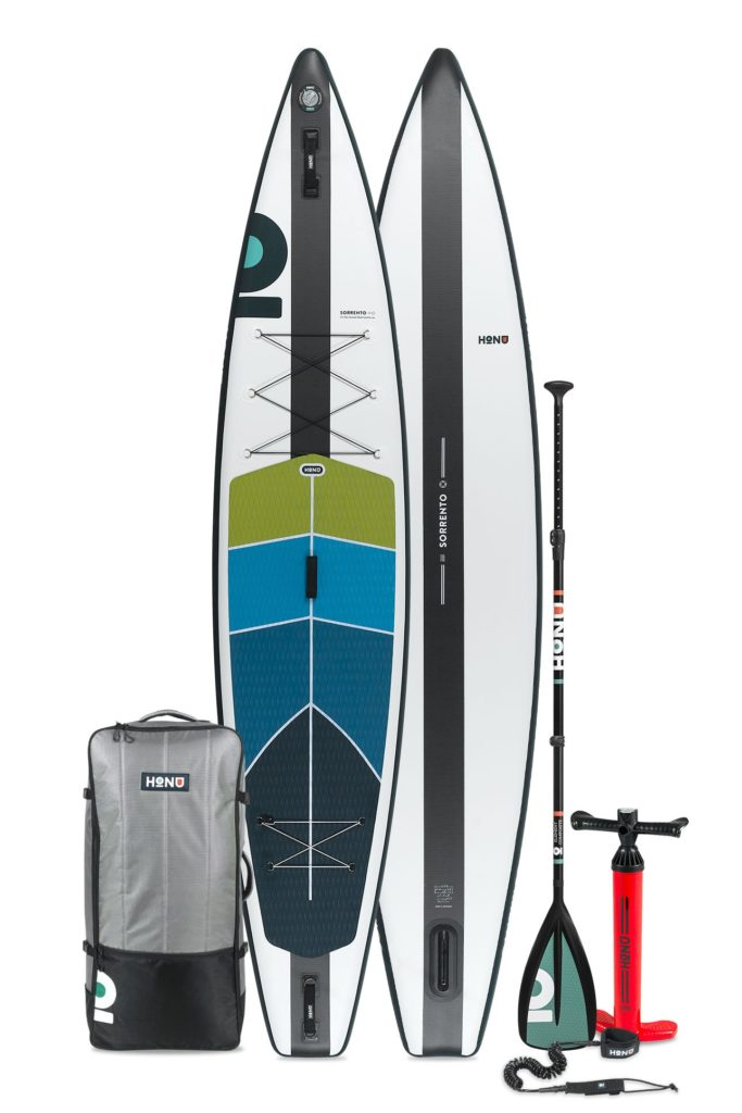 2021 HONU Sorrento paddle board accessories package includes a single chamber pump, SUP bag, coiled leash, single fin, and repair kit.