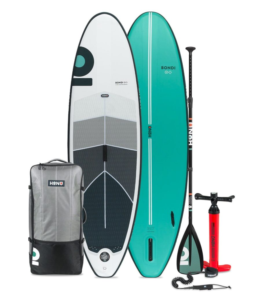 2021 HONU Bondi paddle board accessories package includes a single chamber pump, SUP bag, coiled leash, single fin, and repair kit.