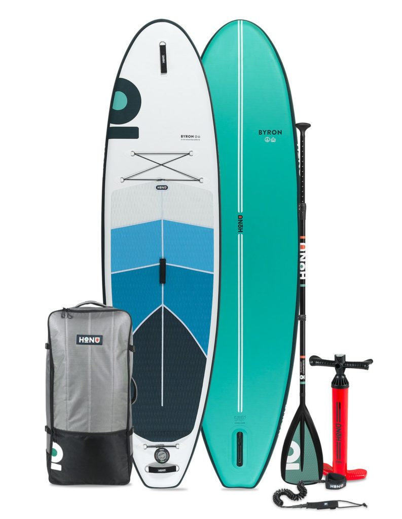 2021 HONU Byron paddle board accessories package includes a single chamber pump, SUP bag, coiled leash, single fin, and repair kit.