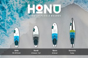 HONU inflatable paddle boards compared. Includes Airlie, Bondi, Byron, and Sorrento SUPs.