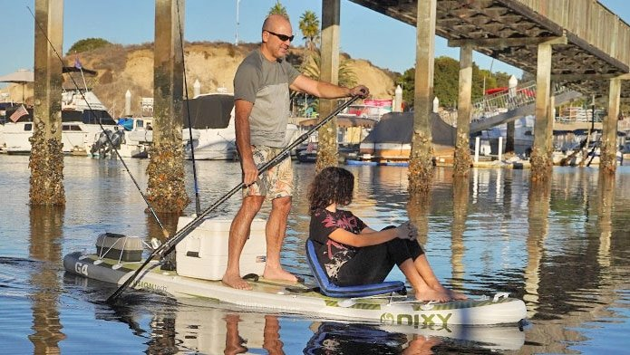 Paddling the NIXY Monterey SUP with a passenger.